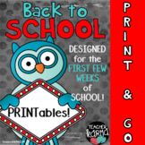 School Printables for the FIRST FEW WEEKS