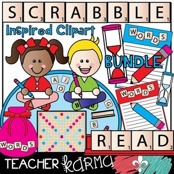 Scrabble Inspired Clipart BUNDLE * Letter Tiles *