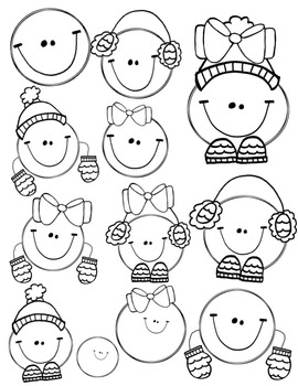 Snowball Kids Doodles Clipart ~ Commercial Use OK ~ Winter