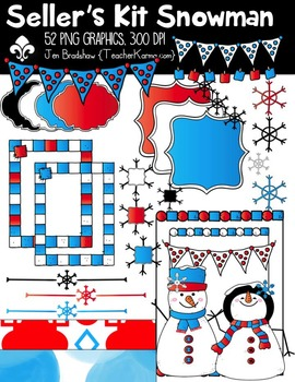 Snowman Seller's Kit Clipart ~ Commercial Use OK ~ Winter