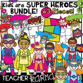Super Hero Kids Clipart BUNDLE * Comic Book Templates