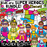 Super Hero Kids Clipart BUNDLE, Comic Book Templates