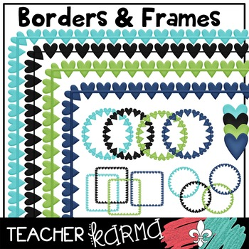 Teal, Lime Green, & Navy Blue Classroom DESIGN KIT * Hearts