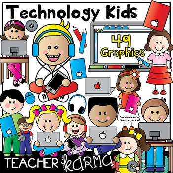 Technology Kids with Mac / Apple Clipart