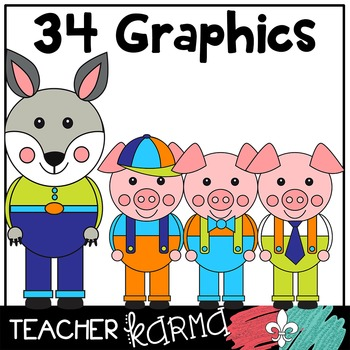Three Little Pigs Clipart * Fairy Tales / Folk Tales / Fable