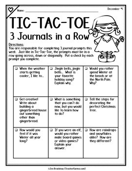 Tic-Tac-Toe 3 JOURNALS in a ROW * WRITING PROMPTS * FREE Samples