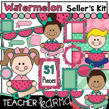 Watermelon Seller's Kit * BUNDLE * Clipart * mint green & pink