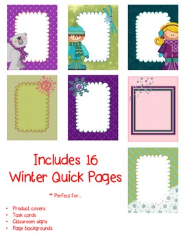 Winter QUICK PAGES Seller's Kit Clipart ~ Commercial Use OK
