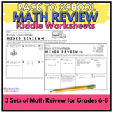 Back to School Math Review Riddle Worksheets