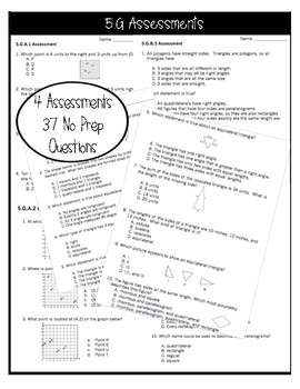 ** 5G CCSS Standard Based Assessments - Includes all G Standards! **