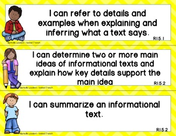 {5th Grade}  I Can Statements...Learning Targets {RI & RL}