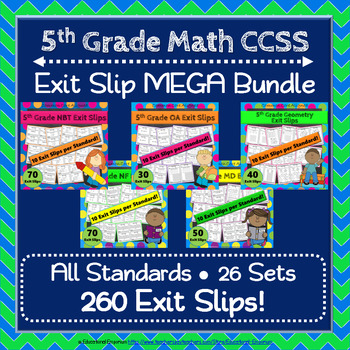 5th Grade Math Exit Slips MEGA Bundle