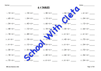 (÷6) Simple Division By Six Mental Maths / Drill Worksheets / Booklet