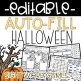 EDITABLE Halloween Sight Word Games Auto-Fill
