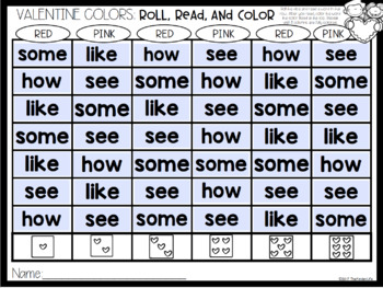Valentine's Day February Sight Word Games EDITABLE