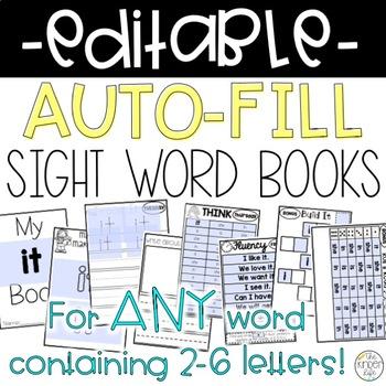 Editable Sight Word Weekly Books