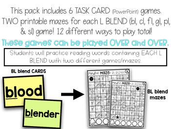 L Blends Reading Digital Task Cards