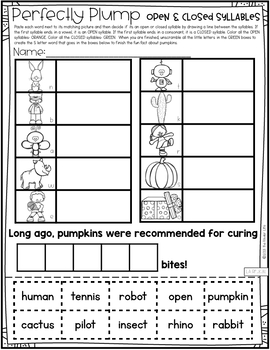 Third Grade Pumpkins Emergency Sub Plans November