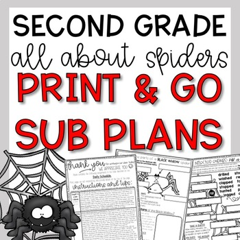 October Second Grade Spiders Emergency Sub Plans