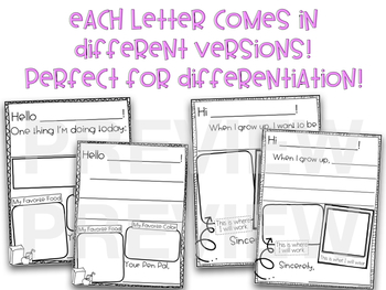 Pen Pals Letters for Beginning Writers