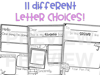 Pen Pal Letters for Beginning Writers