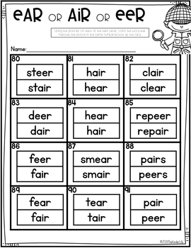 R-Controlled Long Vowels AIR EER EAR Task Cards