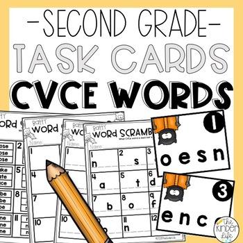 Scrambled CVCe Words Task Card Game