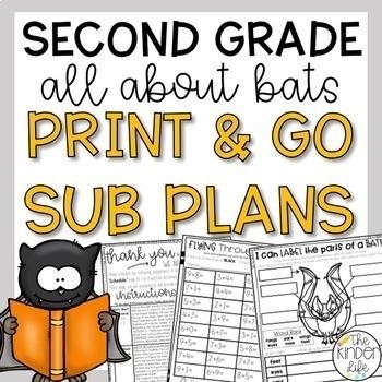 October Second Grade Bats Emergency Sub Plans