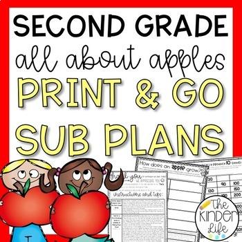 Second Grade September Emergency Sub Plans Apples