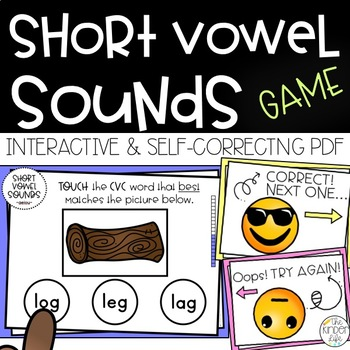 Short Vowels AEIOU Interactive PDF Game Assessment