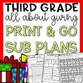 Third Grade Emergency Sub Plans Giving Kindness December