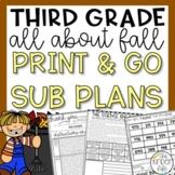 Third Grade Emergency Sub Plans Fall November