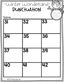Punctuation Task Cards Winter Theme