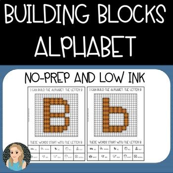 Building Blocks: No-Prep Alphabet (Color/Low Ink Options)