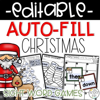 EDITABLE Christmas Sight Word Games Auto-Fill