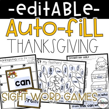 EDITABLE Thanksgiving Sight Word Games Auto-Fill