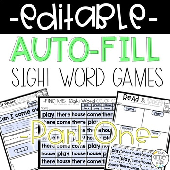 Sight Word Games EDITABLE Auto-Fill PART 1