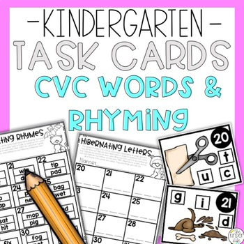 CVC and Rhyming Words Task Cards