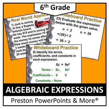 (6th) Algebraic Expressions in a PowerPoint Presentation