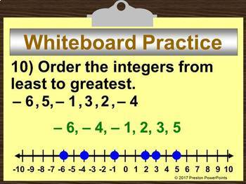 (6th) Comparing and Ordering Integers in a PowerPoint Presentation