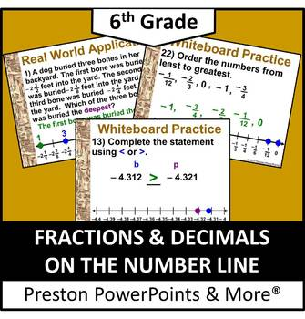 (6th) Fractions and Decimals on a Number Line in a PowerPoint Presentation