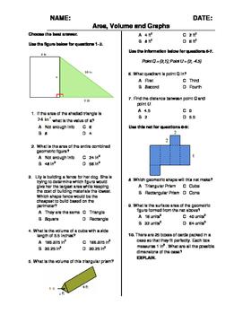 (6th Grade) Area and Volume QUIZ