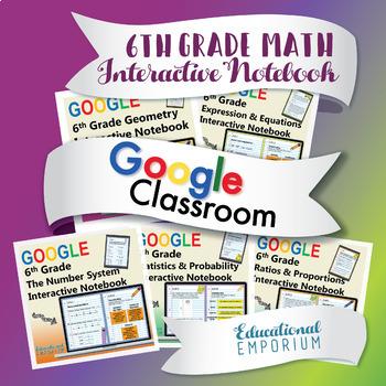 6th Grade Google Classroom Math Interactive Notebook, Digital: All Standards