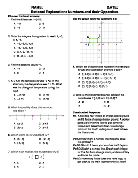 (6th Grade) Rational Exploration - Numbers and their Opposites QUIZ