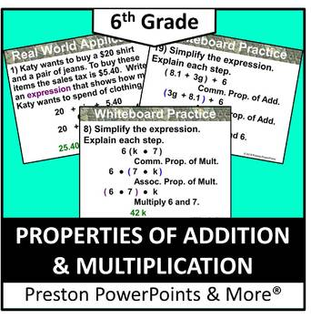 (6th) Properties of Addition and Multiplication in a PowerPoint Presentation