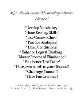 #7: Analo-Sents Vocabulary Brain Teaser