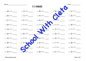 (÷7) Simple Division By Seven Mental Maths / Drill Worksheets / Booklet