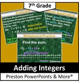 (7th) Adding Integers with a Number Line in a PowerPoint Presentation