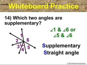 (7th) Complementary and Supplementary Angles in a PowerPoint Presentation