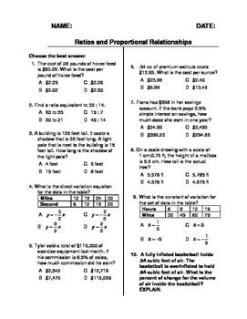 (7th Grade) Ratios and Proportional Relationships QUIZ
